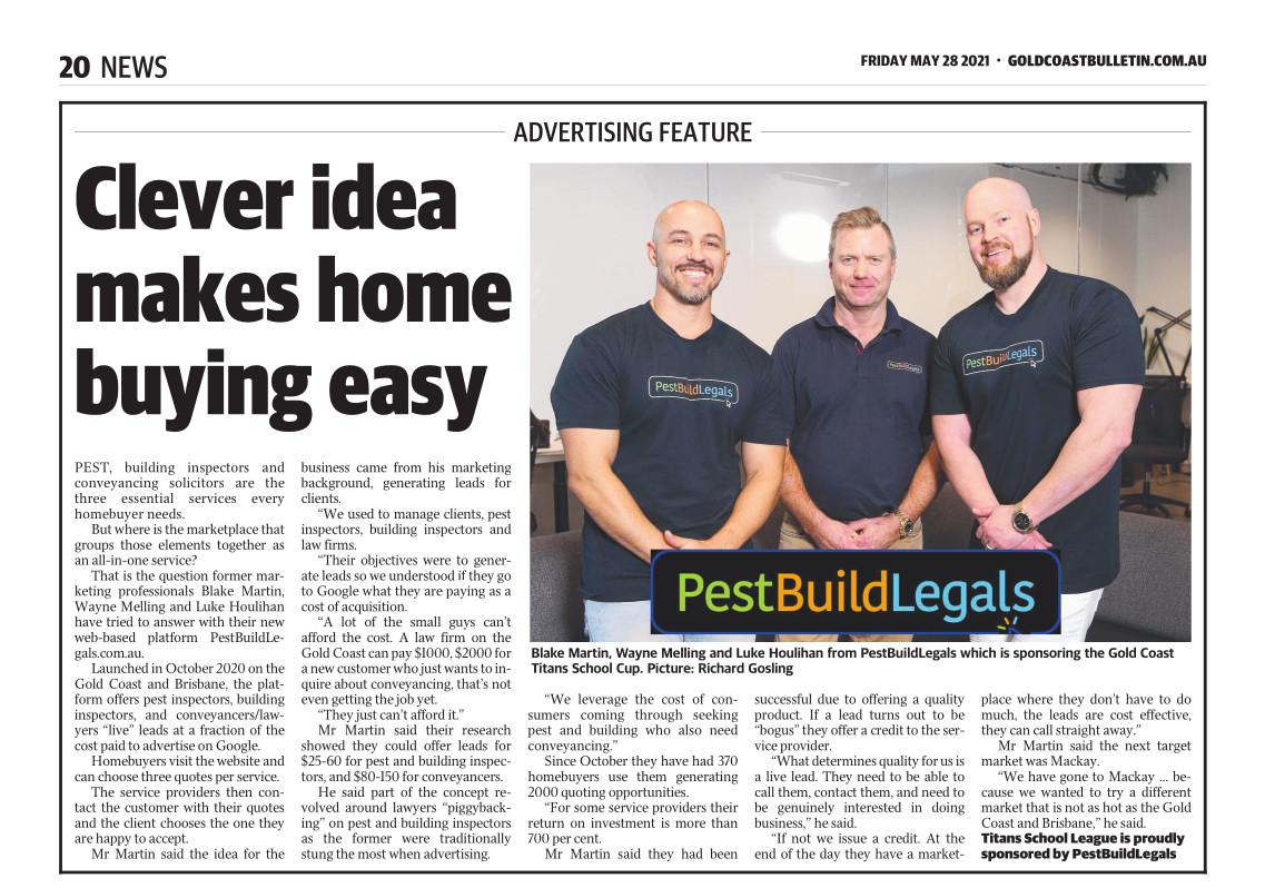 PestBuildLegals featured in the Gold Coast Bulletin